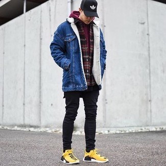 How to wear: black crew-neck t-shirt, red and black check flannel long sleeve shirt, burgundy hoodie, blue denim jacket