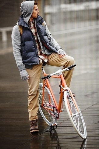 How to wear: khaki chinos, burgundy plaid long sleeve shirt, grey hoodie, navy quilted gilet