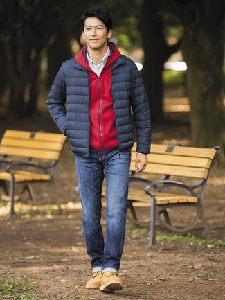 How to wear: navy jeans, white check long sleeve shirt, red hoodie, navy puffer jacket