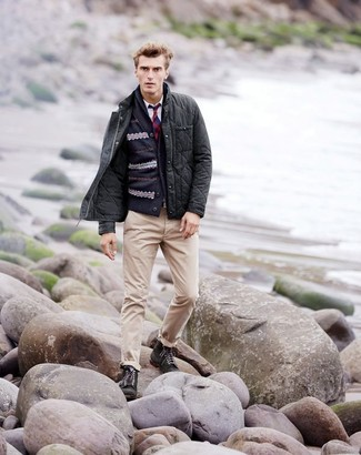 How to wear: beige chinos, white long sleeve shirt, navy fair isle shawl cardigan, charcoal quilted barn jacket