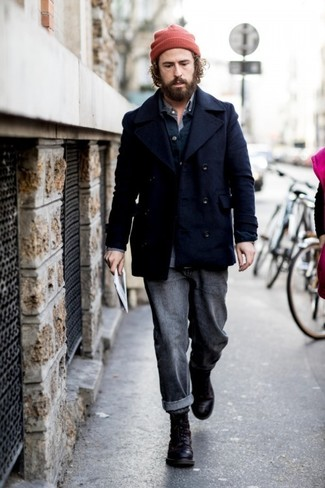 How to Wear a Navy Pea Coat: This combination of a navy pea coat and charcoal jeans is a must-try effortlessly sleek ensemble for today's gentleman. Enter a pair of black leather casual boots into the equation and ta-da: the look is complete.
