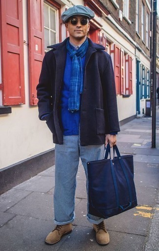 How to Wear White and Navy Vertical Striped Chinos: You'll be surprised at how easy it is for any guy to get dressed like this. Just a navy pea coat combined with white and navy vertical striped chinos. Tan suede casual boots are a smart choice to round off your ensemble.