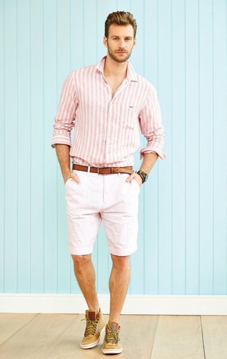 How to wear: pink vertical striped long sleeve shirt, white shorts, tan suede high top sneakers, brown leather belt