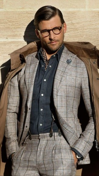 How to wear: dark brown polka dot silk scarf, navy chambray long sleeve shirt, grey plaid suit, brown field jacket