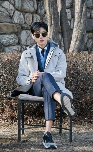 How to Wear Charcoal Sunglasses For Men: Who said you can't make a fashion statement with a casual street style look? Make ladies go weak in the knees in a white raincoat and charcoal sunglasses. Light blue athletic shoes are the ideal accompaniment to your ensemble.