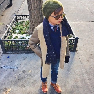 How to Wear Brown Boots For Boys: For an everyday outfit that is full of character and personality go for a grey coat and blue jeans for your son. This look is complemented wonderfully with brown boots.