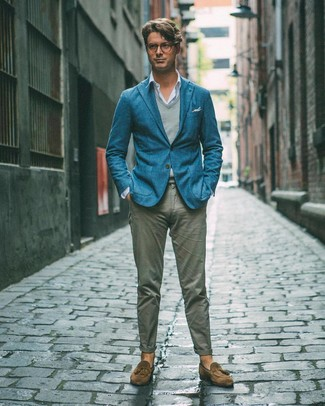 How to wear: grey chinos, light blue long sleeve shirt, grey sweater vest, teal blazer