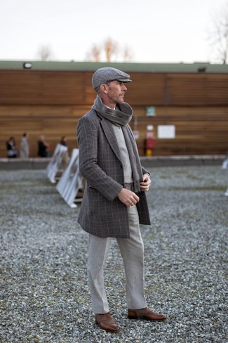 How to wear: grey wool dress pants, white long sleeve shirt, grey plaid sweater vest, charcoal check overcoat