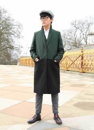How to Wear a Dark Green Overcoat: Nail the effortlessly sleek ensemble by opting for a dark green overcoat and grey chinos. Want to go all out in the footwear department? Round off with a pair of burgundy leather derby shoes.