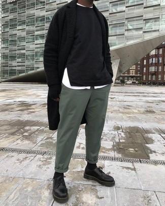 How to wear: green chinos, white long sleeve shirt, black sweatshirt, black overcoat