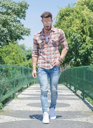 How to wear: orange plaid long sleeve shirt, white tank, light blue ripped skinny jeans, white low top sneakers