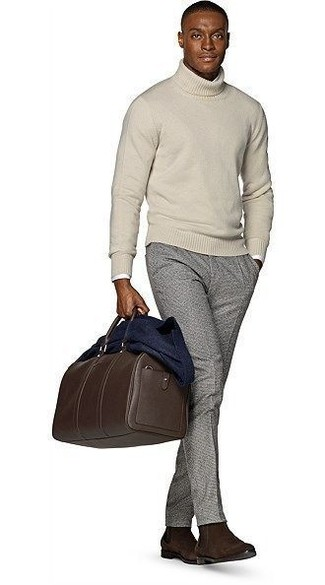 How to wear: grey wool dress pants, white long sleeve shirt, beige turtleneck, navy wool blazer