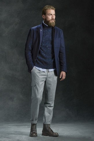 Fashion for 30 Year Old Men: What To Wear: Go for a simple yet casual and cool getup by putting together a navy wool blazer and grey cargo pants. Dark brown leather casual boots integrate really well within a variety of getups. As you slip into your 30s, you want to start dressing more maturely. That's when ensembles like this become a great source of inspo.