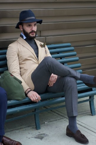 How to wear: charcoal dress pants, light blue long sleeve shirt, charcoal turtleneck, tan blazer