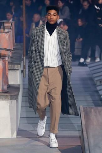 How to wear: khaki dress pants, white vertical striped long sleeve shirt, black turtleneck, black and white check overcoat