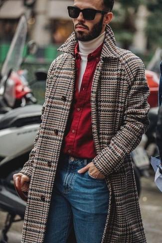 How to wear: blue jeans, red long sleeve shirt, white turtleneck, brown herringbone overcoat