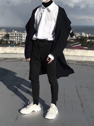 How to wear: black skinny jeans, white long sleeve shirt, black turtleneck, black overcoat