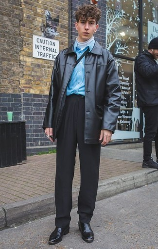 How to Wear Black Dress Pants For Men: Try pairing a black leather overcoat with black dress pants if you're going for a neat, trendy getup. Don't know how to round off? Introduce black leather chelsea boots to this look for a more casual spin.
