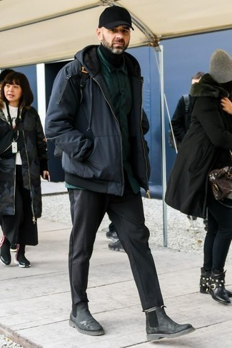 Men's Looks & Outfits: What To Wear In Cold Weather: When you need to go about your day with confidence in your look, consider teaming a navy parka with charcoal chinos. Charcoal suede chelsea boots are a surefire way to breathe a sense of elegance into your look.