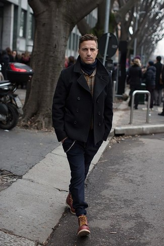 How to Wear a Black Pea Coat: Consider pairing a black pea coat with navy chinos for a clean sophisticated look. Switch up your look by wearing burgundy leather work boots.