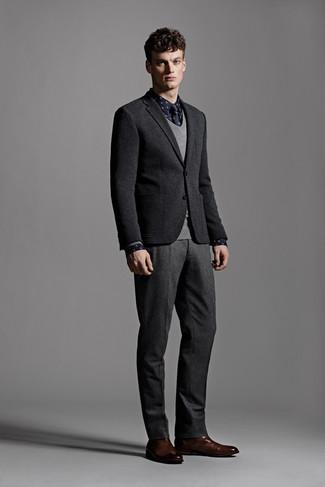 How to wear: charcoal wool dress pants, navy polka dot long sleeve shirt, grey v-neck sweater, black wool blazer