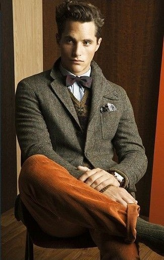 How to wear: tobacco chinos, light blue long sleeve shirt, brown fair isle v-neck sweater, olive wool blazer