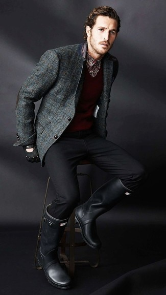 How to wear: black chinos, burgundy print long sleeve shirt, burgundy v-neck sweater, charcoal check wool blazer
