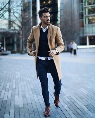 How to Wear a Dark Brown Leather Watch In Cold Weather For Men: Such must-haves as a camel overcoat and a dark brown leather watch are the perfect way to inject effortless cool into your day-to-day wardrobe. To introduce a little zing to this ensemble, complement your outfit with brown leather desert boots.