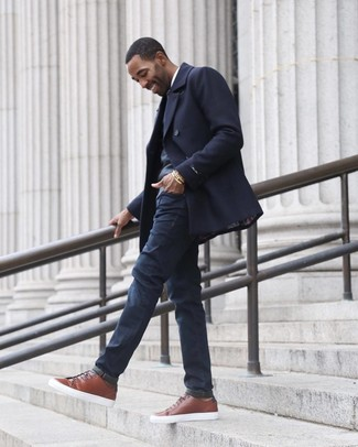 How to wear: navy jeans, white long sleeve shirt, charcoal v-neck sweater, navy pea coat