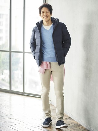 How to wear: white crew-neck t-shirt, red vertical striped long sleeve shirt, light blue v-neck sweater, navy puffer jacket