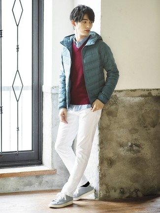 How to wear: white chinos, light blue chambray long sleeve shirt, burgundy v-neck sweater, teal puffer jacket