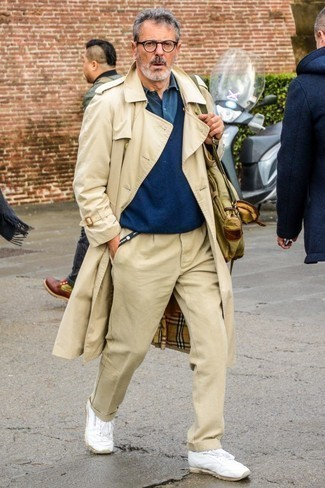 How to Wear a Teal Long Sleeve Shirt For Men: Fashionable and functional, this laid-back combination of a teal long sleeve shirt and beige chinos provides with variety. Take a more casual approach with footwear and complete your look with a pair of white leather low top sneakers.