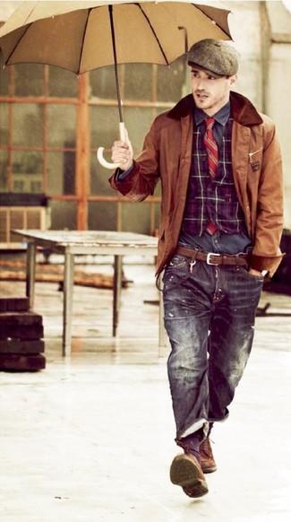 How to wear: black jeans, charcoal long sleeve shirt, purple plaid waistcoat, brown leather barn jacket