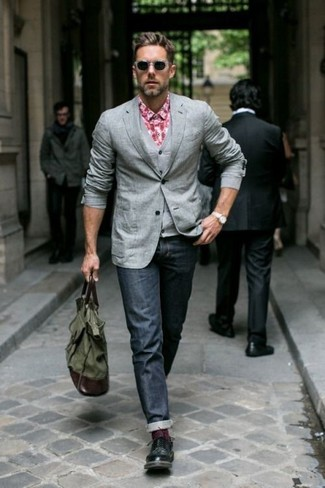 How to wear: navy jeans, red gingham long sleeve shirt, grey waistcoat, grey blazer