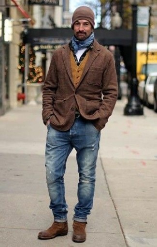 How to wear: white crew-neck t-shirt, black check long sleeve shirt, mustard wool waistcoat, brown plaid wool blazer