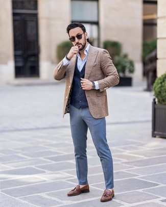 How to wear: blue dress pants, light blue long sleeve shirt, navy waistcoat, brown check wool blazer