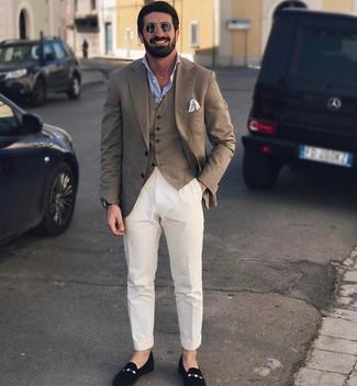 How to wear: white chinos, light blue long sleeve shirt, brown waistcoat, brown blazer