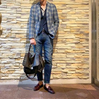 How to wear: navy jeans, grey long sleeve shirt, navy waistcoat, navy plaid blazer