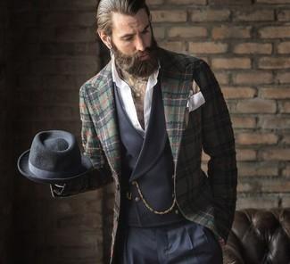 How to wear: navy dress pants, white long sleeve shirt, charcoal waistcoat, dark green plaid blazer