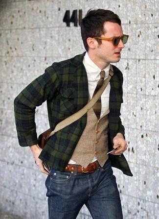 How to wear: navy jeans, white long sleeve shirt, beige waistcoat, dark green plaid blazer