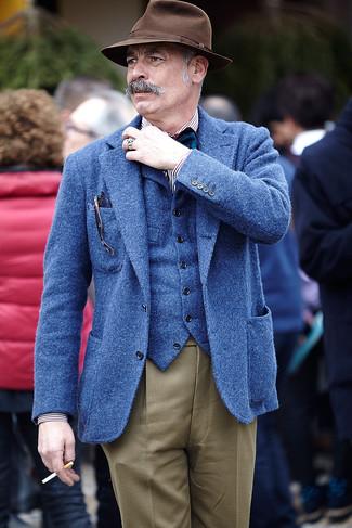How to wear: brown dress pants, white and black vertical striped long sleeve shirt, blue wool waistcoat, blue wool blazer