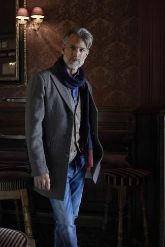 How to wear: blue jeans, blue chambray long sleeve shirt, grey gingham waistcoat, grey herringbone overcoat