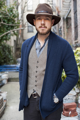 How to wear: black chinos, blue vertical striped long sleeve shirt, grey wool waistcoat, navy shawl cardigan