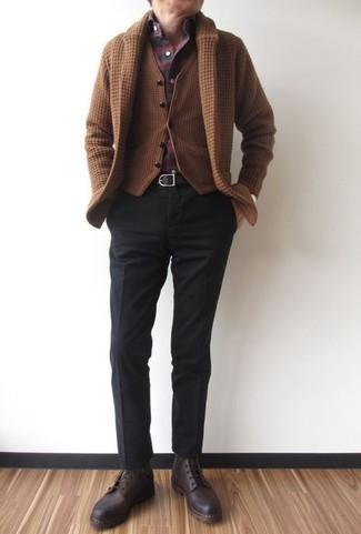 How to wear: black dress pants, burgundy plaid long sleeve shirt, brown wool waistcoat, brown shawl cardigan