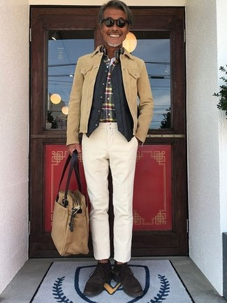 How to wear: beige chinos, multi colored plaid long sleeve shirt, black quilted waistcoat, tan suede shirt jacket