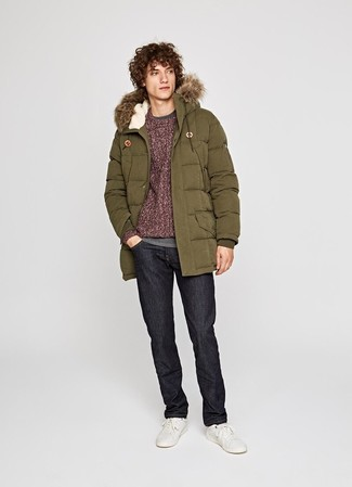 How to wear: black jeans, grey long sleeve t-shirt, burgundy cable sweater, olive parka