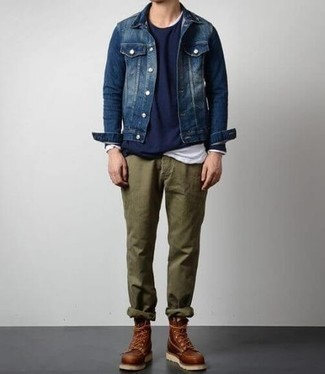 Men's Looks & Outfits: What To Wear In 2020: A navy denim jacket and olive chinos are the ideal way to inject extra cool into your current fashion mix. Brown leather work boots will bring a dash of stylish nonchalance to an otherwise classic getup.