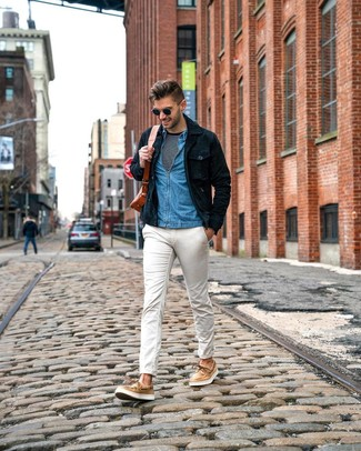 How to wear: white chinos, black and white horizontal striped long sleeve t-shirt, blue denim shirt, navy suede shirt jacket