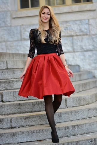 How to wear: black lace long sleeve t-shirt, red satin full skirt, black suede pumps, gold watch