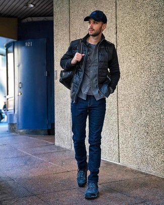 How to wear: navy jeans, black and white horizontal striped long sleeve t-shirt, grey flannel long sleeve shirt, black quilted bomber jacket